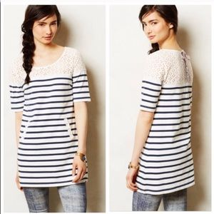 Anthropologie Postmark Striped Eyelet Tunic Size L